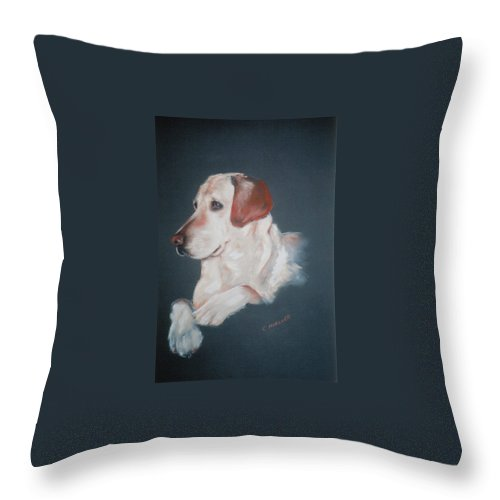Dog Throw Pillow featuring the painting Casey by Carol Mueller