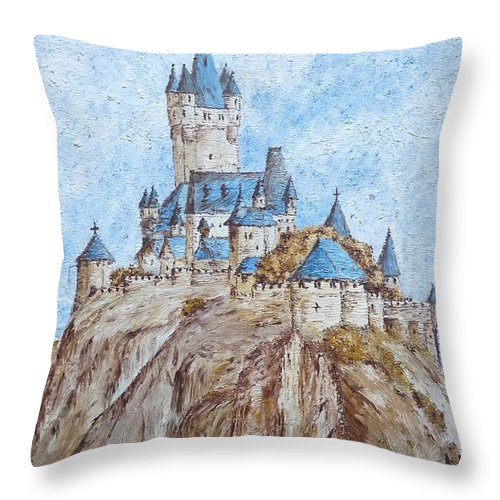 Castle Throw Pillow featuring the painting Castle On The River Rhine by Birgit Moldenhauer