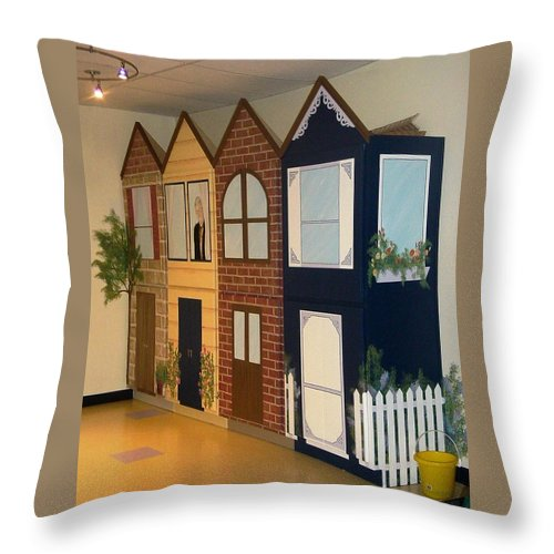 Cabinets Throw Pillow featuring the painting Cass Country Mural Side View by Melissa Wiater Chaney