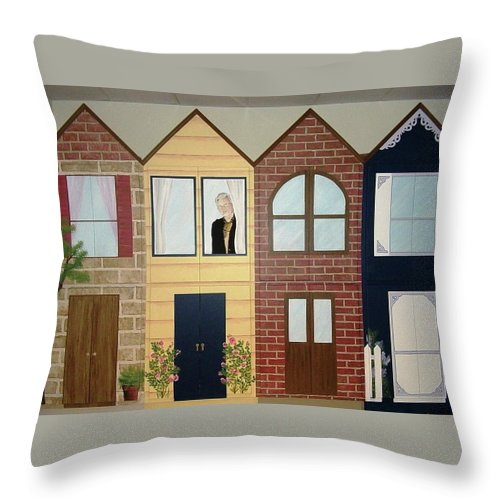 Cabinets Throw Pillow featuring the painting Cass County Library by Melissa Wiater Chaney