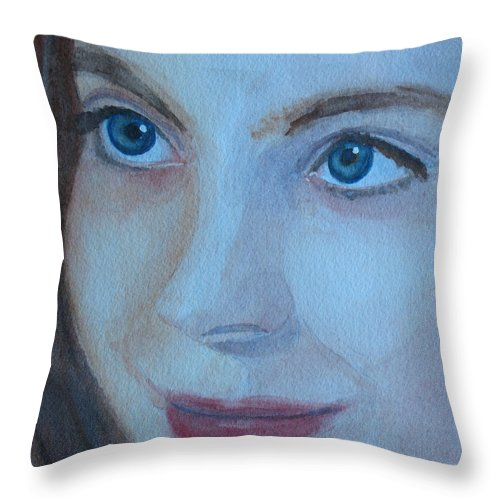 Portrate Throw Pillow featuring the painting Cass Up Close by Jenny Armitage