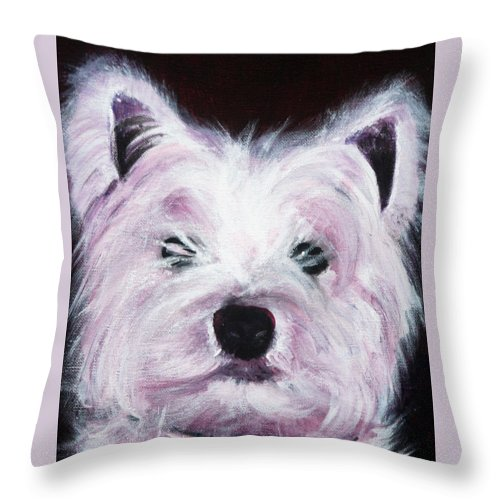 Dog Throw Pillow featuring the painting Cassie by Fiona Jack