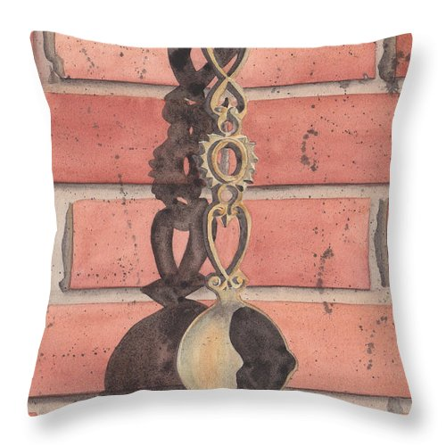 Vintage Throw Pillow featuring the painting Cast Iron Welsh Love Spoon by Ken Powers