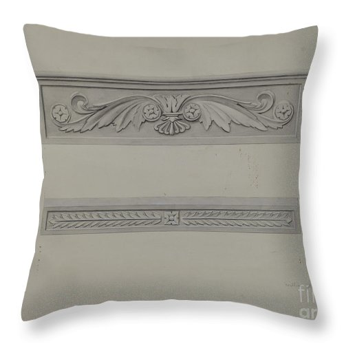 Throw Pillow featuring the drawing Cast Iron Window Lintel by William Kerby
