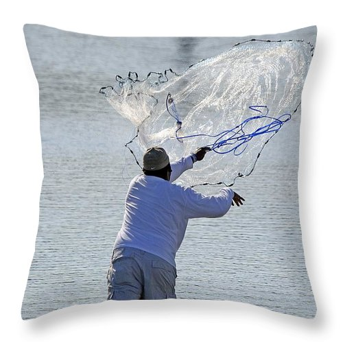 Nature Throw Pillow featuring the photograph Cast Net by Kenneth Albin