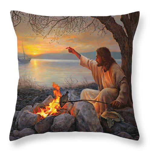 Jesus Throw Pillow featuring the painting Cast Your Nets On The Right Side by Greg Olsen