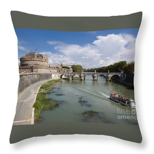 Boat Throw Pillow featuring the photograph Castel Sant' Angelo by Aquadro Photography