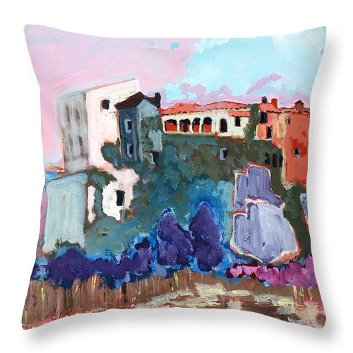 Castle Throw Pillow featuring the painting Castello by Kurt Hausmann