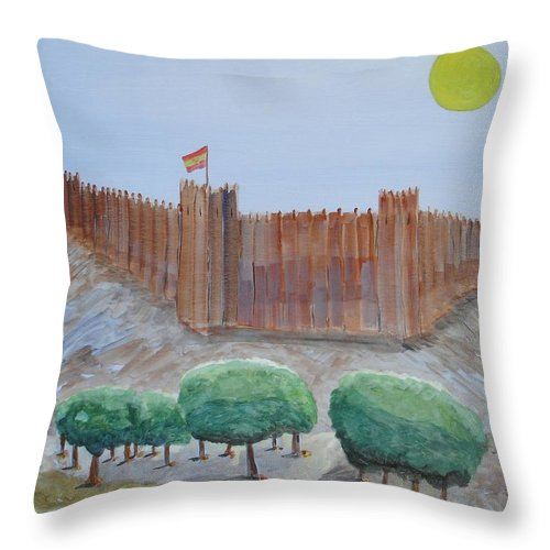 Art Throw Pillow featuring the painting Castillo Sohail by Roger Cummiskey