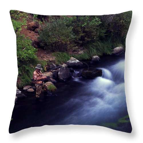 Fishing Throw Pillow featuring the photograph Casting Softly by Peter Piatt