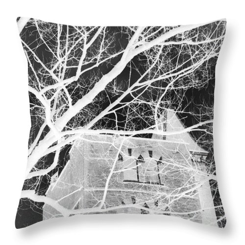 Black And White Throw Pillow featuring the digital art Castle At Night by Munir Alawi
