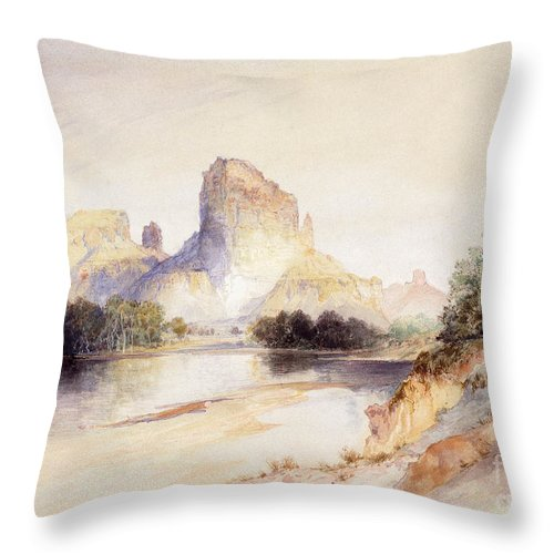 Castle Butte Throw Pillow featuring the painting Castle Butte, Green River, Wyoming by Thomas Moran