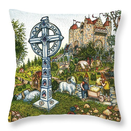 Castle Throw Pillow featuring the drawing Castle Cross by Bill Perkins