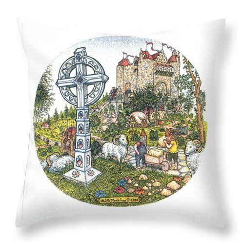 Castle Throw Pillow featuring the drawing Castle Cross Circle by Bill Perkins