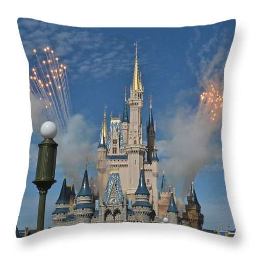 Wdw Throw Pillow featuring the photograph Castle Fireworks by Carol Bradley