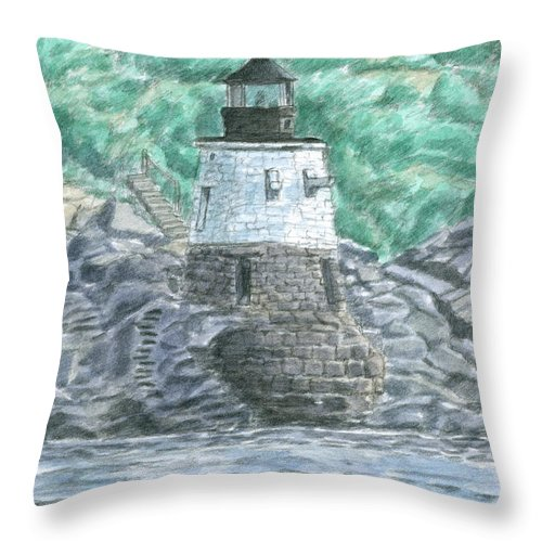 Lighthouse Throw Pillow featuring the painting Castle Hill Lighthouse by Dominic White