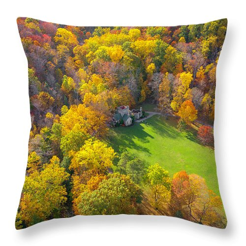 Castle Throw Pillow featuring the photograph Castle In Fall by Andrew Cross