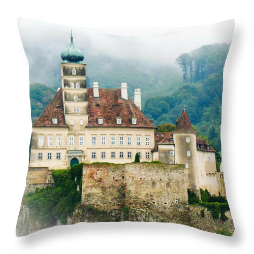 Mist Throw Pillow featuring the photograph Castle In The Mist by Lisa Kilby