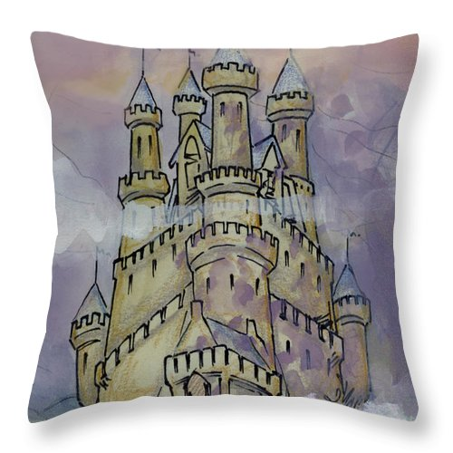 Castle Throw Pillow featuring the greeting card Castle by Kevin Middleton