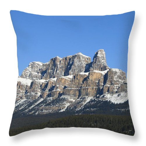 Cascade Mountain Throw Pillow featuring the photograph Castle Mountain Winter by Tiffany Vest