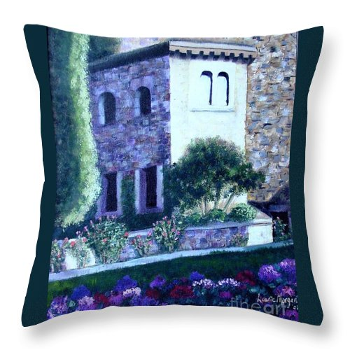 Italy Throw Pillow featuring the painting Castle Sestri Levante by Laurie Morgan