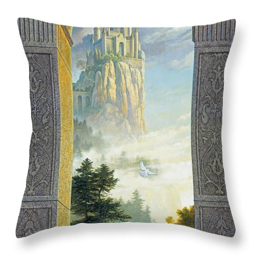 Castles Throw Pillow featuring the painting Castles In The Sky by Greg Olsen