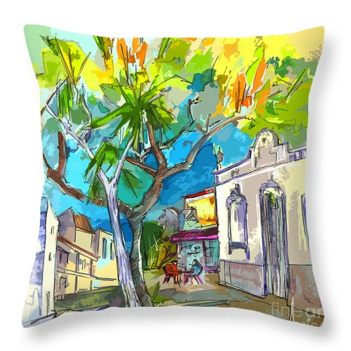 Castro Marim Portugal Algarve Painting Travel Sketch Throw Pillow featuring the painting Castro Marim Portugal 14 Bis by Miki De Goodaboom