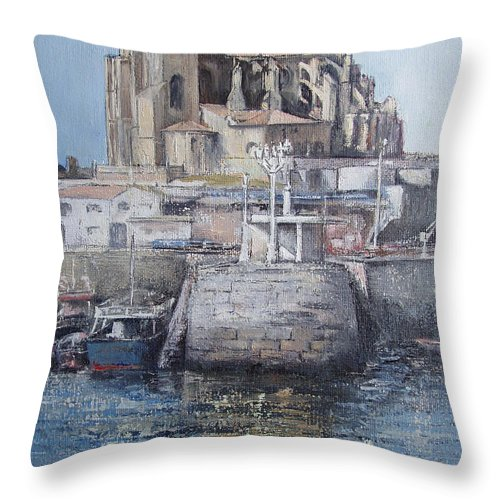 Castro Throw Pillow featuring the painting Castro Urdiales by Tomas Castano