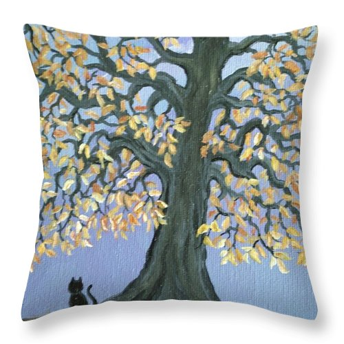 Cat Throw Pillow featuring the painting Cat And Crow by Nick Gustafson