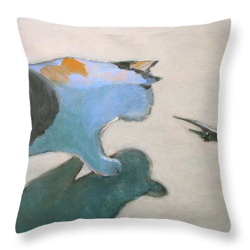 Lizard Throw Pillow featuring the painting Cat And Lizard by Kazumi Whitemoon