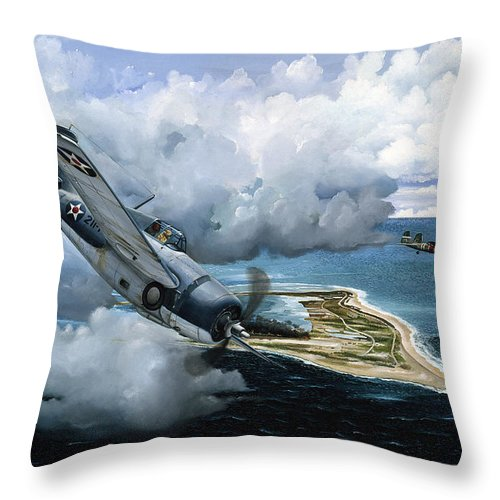 Military Throw Pillow featuring the painting Cat And Mouse Over Wake by Marc Stewart