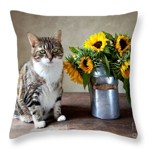 Cat Throw Pillow featuring the painting Cat and Sunflowers by Nailia Schwarz