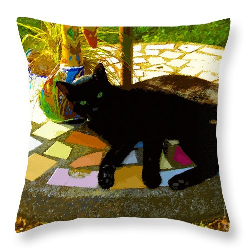 Black Cat Throw Pillow featuring the painting Cat And Table by David Lee Thompson