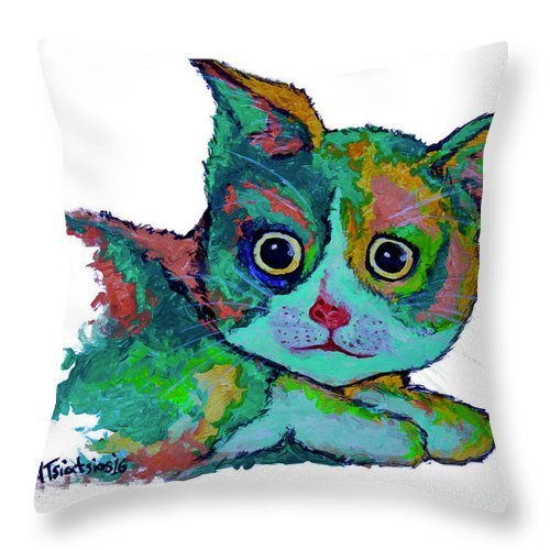 Cat Throw Pillow featuring the painting Cat For Love by Carol Tsiatsios
