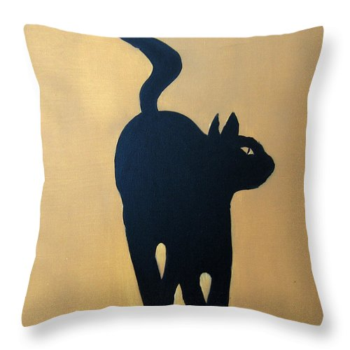 Cat Throw Pillow featuring the painting Cat Dance..... Optical Illusion by Patrick Trotter