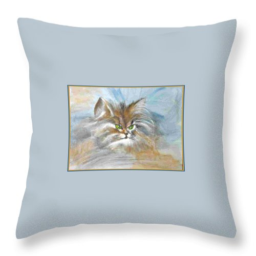 Cat Throw Pillow featuring the painting cat by Dragica Micki Fortuna