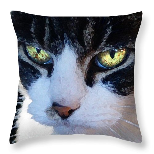 Cat Throw Pillow featuring the digital art Cat Eyes by Jana Russon