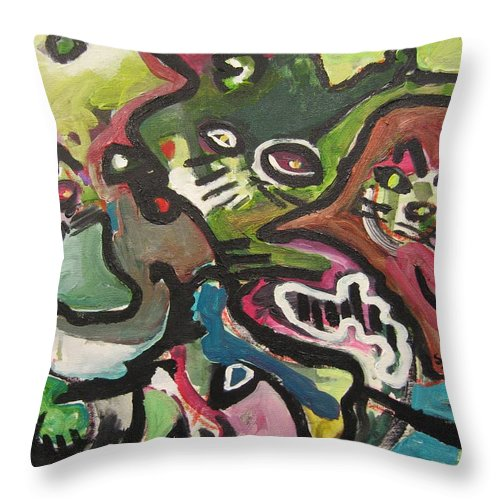Cat Painting Throw Pillow featuring the painting Cat Fight by Seon-Jeong Kim