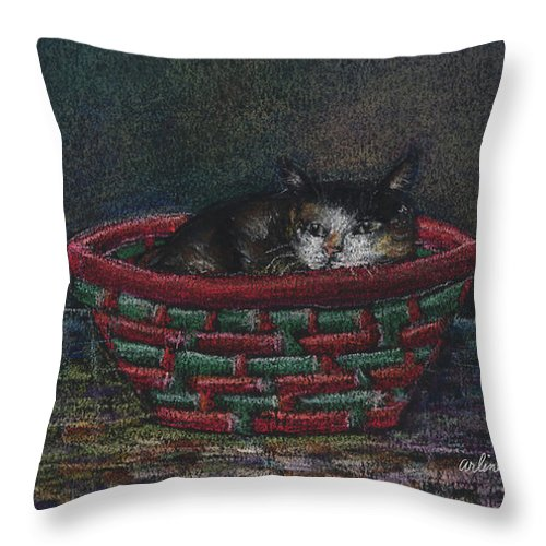 Cat Throw Pillow featuring the pastel Cat In A Basket by Arline Wagner