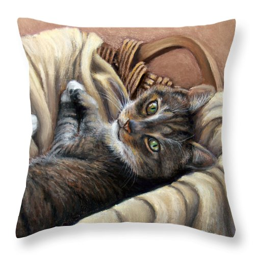 Animal Throw Pillow featuring the pastel Cat In A Basket by Susan Jenkins