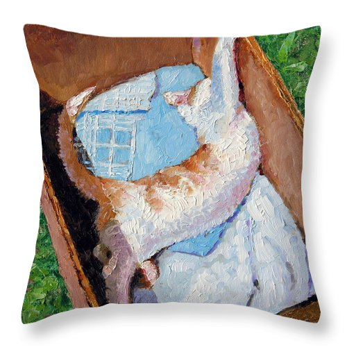 Kitten Throw Pillow featuring the painting Cat In A Box by John Lautermilch