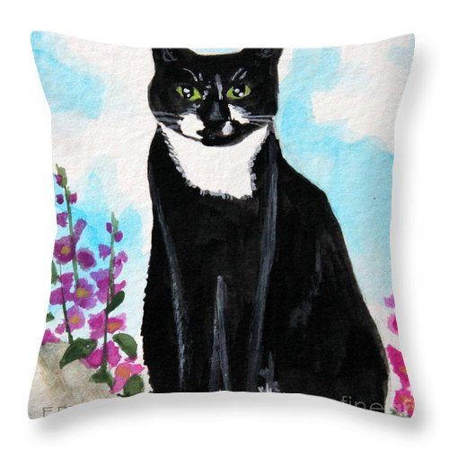 Cat Throw Pillow featuring the painting Cat In The Garden by Elizabeth Robinette Tyndall