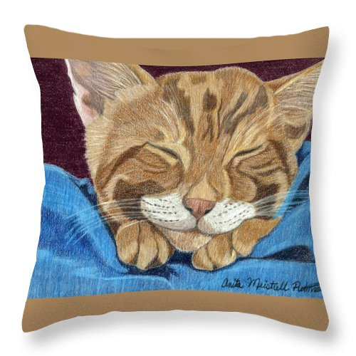 Cat Throw Pillow featuring the painting Cat Nap by Anita Putman