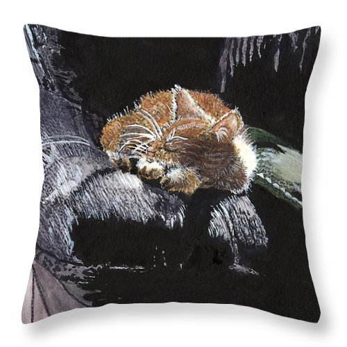 Cats Animals Throw Pillow featuring the painting Cat Nap by Arlene Wright-Correll
