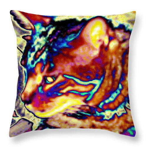 Cat Throw Pillow featuring the photograph Cat Nap by Dawn Johansen