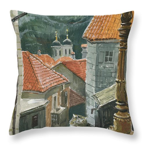 Montenegro Throw Pillow featuring the painting Cat Of The Town Of Kotor by Sakurov Igor
