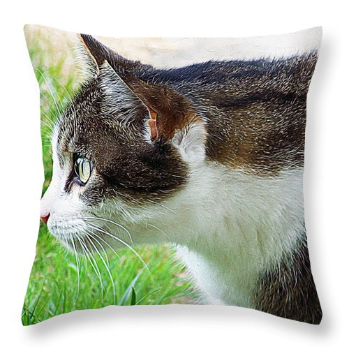 Cat Profile Throw Pillow featuring the painting Cat Profile by Queso Espinosa