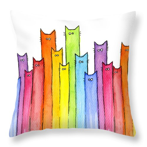 Cats Throw Pillow featuring the painting Cat Rainbow Watercolor Pattern by Olga Shvartsur