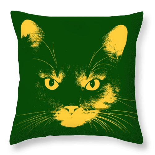 Cat Stare With Transparent Background Throw Pillow For Sale By John Haldane