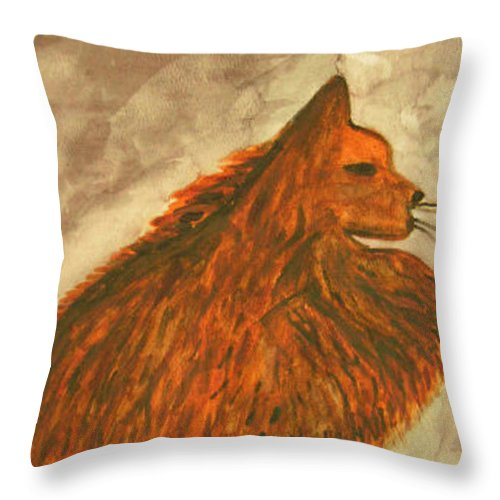 Cat Throw Pillow featuring the painting Cat With Yarn by Natalee Parochka